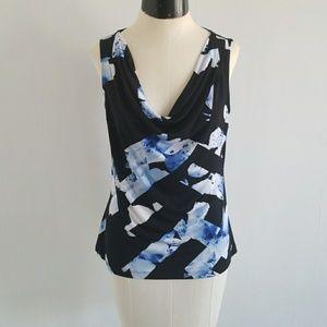 CALVIN KLEIN abstract floral sleeveless drape dop